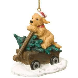 Golden Retriever Dog Wagon Ornament by Big Sky Carvers