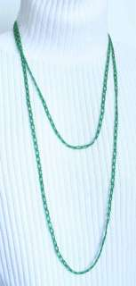Art Deco 20s Green Glass Tube Flapper Necklace