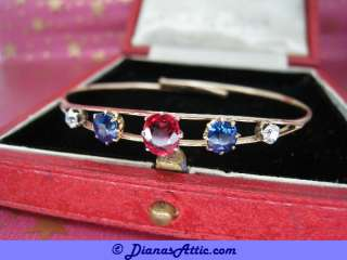 ANTIQUE   GOLD   RUBY  SAPPHIRE & DIAMOND BANGLE