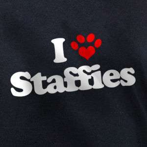 LOVE STAFFIES T SHIRT staffordshire bull terriers dog
