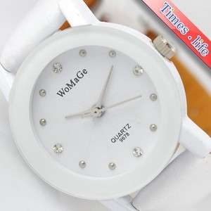 Full White Nice Wrist Watch Women Girls Quartz Casual Gift