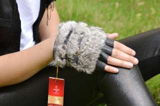 Winter warm rabbit fur&sheep leather fingerless gloves