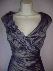 HOWARD Purple Taffeta V Neck Ruched Formal Gown Dress 14 NWT