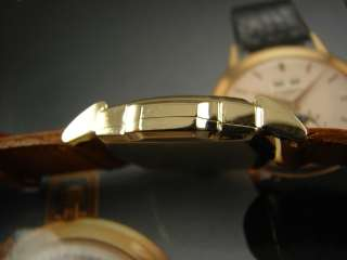 GOLD FL BULOVA MENS DRESS WATCH VINTAGE 1950 RARE ART DECO RUNS A+ HI
