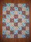 Baby boy Blue Sock Monkey Crib/toddler quilt/blanket MODA fabrics