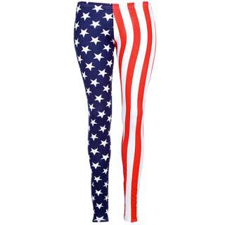 Ladies Stars Stripes Print USA American Flag Full Length Leggings