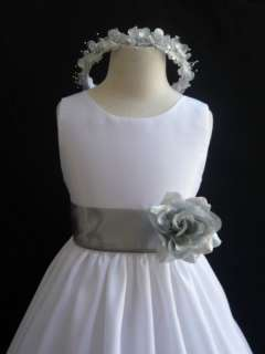 New WHITE SILVER winter wedding flower girl dress