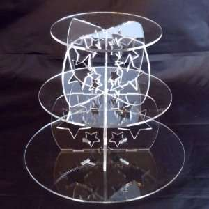 com Three Tier Clear Acrylic Round Stars Wedding and Party Cake Stand