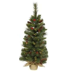 Berry/Cone Artificial Christmas Tree with Burlap Base