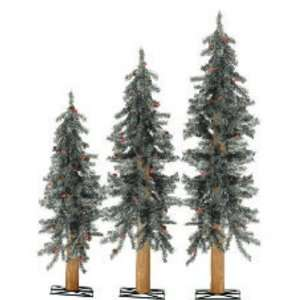 Set of 3 Frosted Alpine Artificial Christmas Trees with