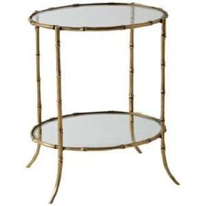 Antique Brass Bamboo Side Table