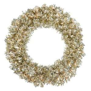 Wide Cut Tinsel Artificial Christmas Wreath   Clear Lights by Gordon