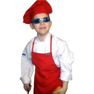 CHEFSKIN Red Set Apron + Hat Chef Costume Small Fits Kids Children 2 8