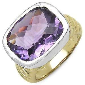 Cut Brazilian Amethyst Gemstone Gold Plated Sterling Silver Ring Size