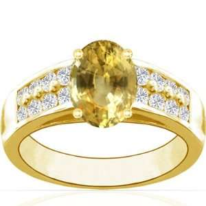 18K Yellow Gold Oval Cut Yellow Sapphire Ring With Sidestones Jewelry