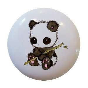 Cute Panda Bamboo Ceramic Knobs Pulls Kitchen Drawer