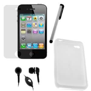 headset w/Mic + Silver Stylus for Apple iPhone 4 4G 16GB / 32GB 4th