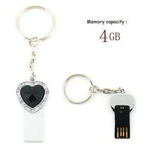 4GB Crystal Heart Key Chain USB Flash Drive (Black) Electronics