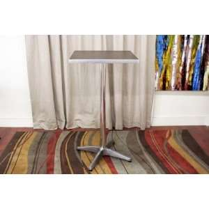 Square Bar Table with Brown Wood Top Aluminum Legs