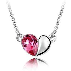 Genuine Heart Rose Crystal Pendant Necklace, Free 18 Chain Jewelry