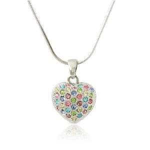 Heart Multi Color Crystal Pendant Necklace Fashion Jewelry Jewelry