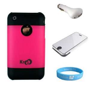 Pink Plastic protective shield + USB Car Charger + Mirror