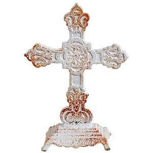 Metal Standing Cross Finial Table Decor Cream I