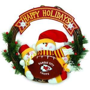 20 NFL Kansas City Chiefs Happy Holidays Triple Snowman