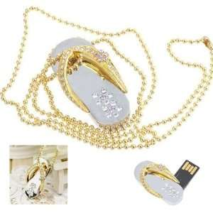 Crystal Diamond Slipper Jewelry USB Flash Drive with Necklace8GB(Gold