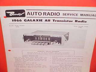 1966 FORD GALAXIE BENDIX RADIO SERVICE SHOP MANUAL BOOK