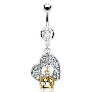 GEM PAVE HEART BELLY NAVEL RING CZ DANGLE BUTTON PIERCING JEWELRY B92