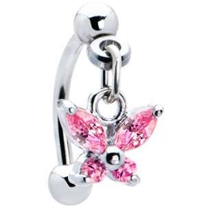 Top Down Pink Gem Dangle Butterfly Eyebrow Ring Jewelry