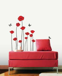 Flowe Wall Decals Red Poppy Removable Vinyl Stickers